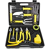 MOSFiATA Garden Tool Set 14 Pcs Stainless Steel Garden Tool Kit with Carrying Case, Heavy Duty Gardening Work Set, Include Pruner, Mini Rake, Big and Small Shovel, Sprayer, Weeder, Scissor etc.