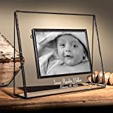 J Devlin Pic 319-46HEP502 Personalized Baby Keepsake Frame 4x6 Horizontal Engraved Glass Picture Frame Nursery Decor Table Top Photo Frame