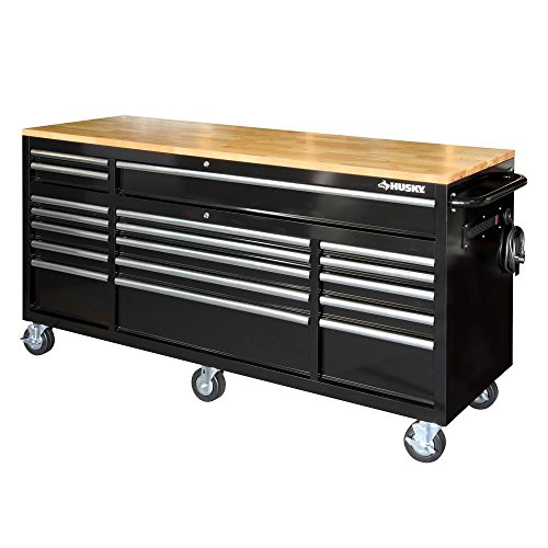 Husky 72 in. 18-Drawer Mobile Workbench with Solid Wood Top, Black