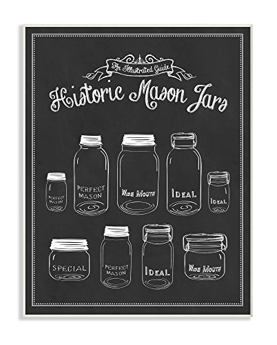 Stupell Home Décor Historic Mason Jars Vintage Typography Sign Wall Plaque Art, 10 x 0.5 x 15, Proudly Made in USA