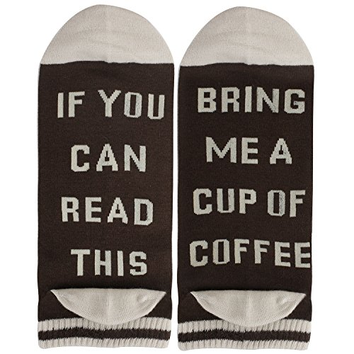 Women 1 Pack Funky Weird Funny Cotton Bring Me Coffee Low Cut - Fit Trim Crew Socks Crew