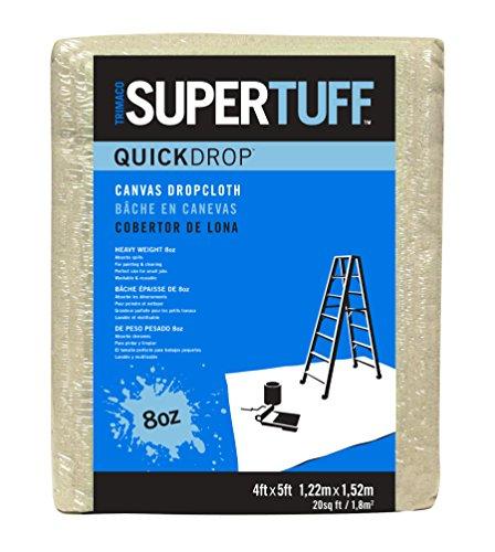 Trimaco SuperTuff 8 oz Premium Contractor Grade Heavyweight Canvas, 4-feet x 5-feet