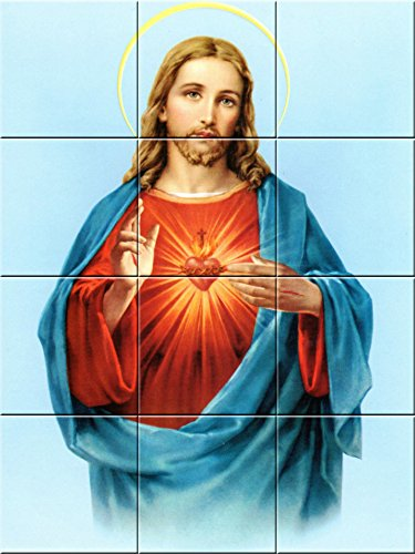 Art Ceramic Mural Accent Tile - Ceramic tile Murals Sacred Heart of Jesus 4.25 X 4.25 Inches ( 12.75 X 17 inches)