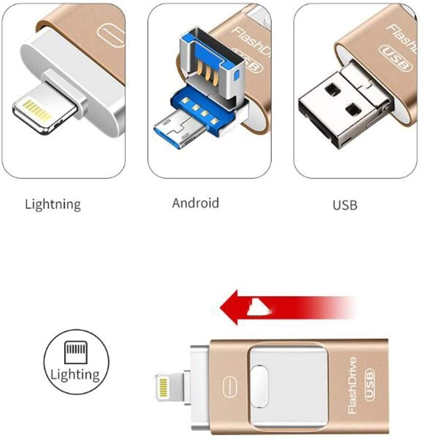Compact Durable Capacity : 32GB, Color : Gold HENGTONGTONGXUN for iOS Android USB Flash Drive 32g Three-in-one Memory Stick