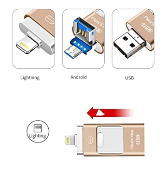 Capacity : 16GB, Color : Gold 2 MUZIWENJU for iOS Android USB Flash Drive 32g Three-in-one Memory Stick Compact