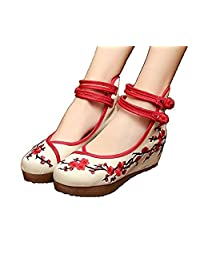 ZYZF Women Chinese Wintersweet Embroidered Oxfords Rubber Sole Mary Jane Dance Flat Shoes