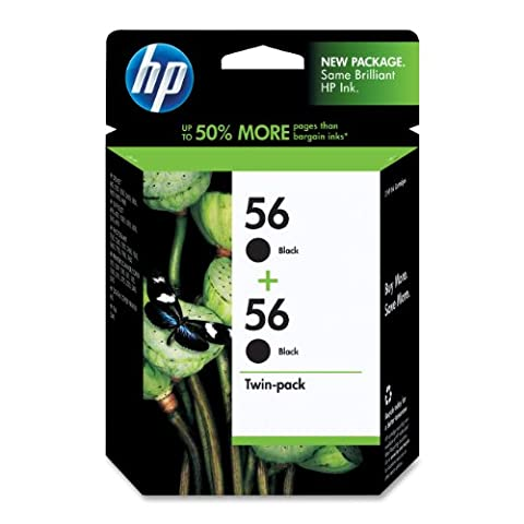 HP 56 Black Original Ink Cartridges, 2 pack (C9319FN) DISCONTINUED BY MANUFACTURER (57 Hp Ink Cartridge)