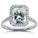 Radiant-cut Moissanite Engagement Ring with Diamond 3 CTW 14k White Gold, Size 7.5, White Gold