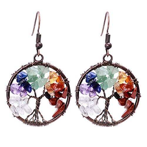 7 Chakra Tree of Life Wire Wrapped Earrings Birthstone Jewelry Drop Dangle Crystal Bifurcated Roots Earring for Women