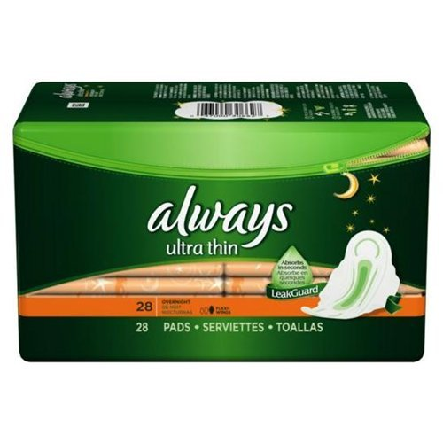 Always Ultra Thin Pads Overnight With Wings Unscented 28 CT (Pack of 18)