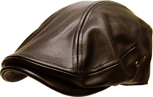 - KBW-312 BRN L/XL PU Leather Classic Ascot Ivy Newsboy Hat
