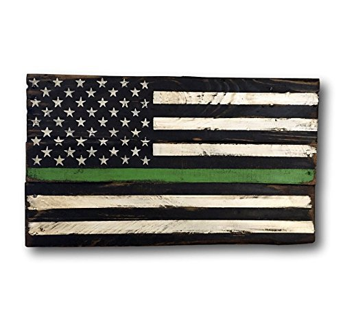 (Ruskin352 Plaque Sign Thin Green Line Wood Flag Federal Agent Flag Game Warden Flag Border Patrol Flag Park Ranger Flag Pallet Flag Border Agent Gift)