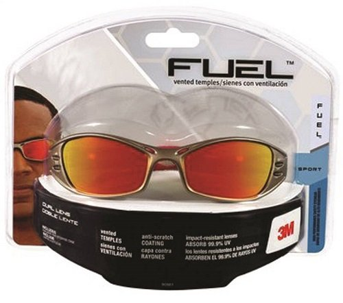 3M 90987 Fuel High Performance Safety Glasses with Titanium-Colored Frame and Red Mirror Lens