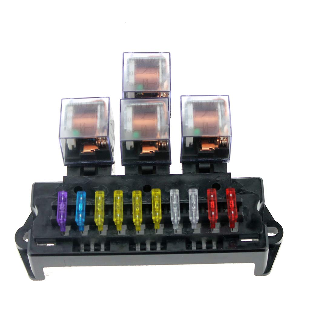 Car Dash Mounting Kits Idyandyans Plastic 1A-40A 10 Way Circuit Car Fuse Box Block 12V 5 Pin Relay Auto Car Fuse Holder Middle Size Car Accessories #1