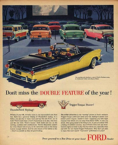 Don't miss the Double Feature! Ford Sunliner Convertible & Thunderbird ad 1955 A
