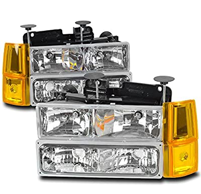 ZMAUTOPARTS GMC C/K Series Pickup Truck Crystal Style Headlights with Corner Lights + Bumper Lights Clear
