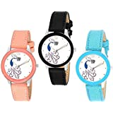 SWADESI STUFF Analogue Multicolour Dial Leather Strap Peacock Theme Women and Girls Watch Combo of 3