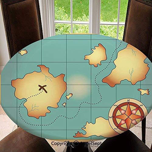 - Polyester Fabric Elastic Edged Tablecloth,Ancient Treasure World Map Design with Compass Navigation Adventure Hidden Land Soil Resistant Holiday Tablecloth, 47 Inch Round,Cream Blue