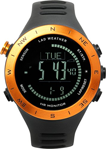 LAD WEATHER Altimeter Barometer Compass Watch + Heart Rate Monitor Thermometer USB Rechargeable Climbing Trekking