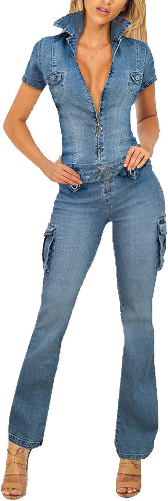Hybrid & Company Womens Super Comfy Stretch Ripped Denim Jumpsuit | Trendy Styles Denim Romper