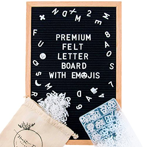 Felt Letter Board Set w/ EMOJIs, Black (12x18 inches) INCLUDES: 650+ Letters/Numbers/Symbols/Emojis, Wooden Oak Frame, Wall Hanger + FREE ORGANIZING CASE & LARGE LETTER BAG By Heart Felt Creations