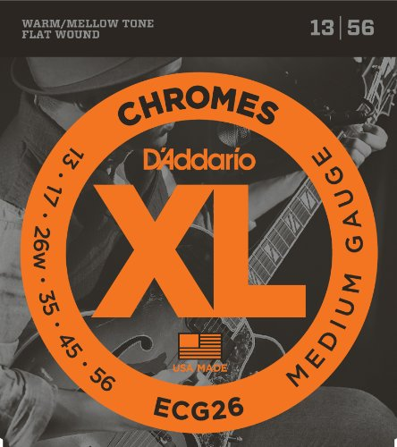 D'Addario ECG26 XL Chromes Flat Wound Electric Guitar Strings, Medium Gauge, 13-56 (1 Set) - Ribbon Wound and Polished for Ultra-Smooth Feel and Warm, Mellow Tone - Sealed Pouch Prevents Corrosion (Guitar Electric Chrome)
