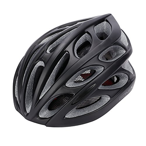 Gonex Adult Bike Helmet, Cycling Road Helmet with Safety Light, Adjustable 58-62cm, 24 Integrated Flow Vents(All Black)