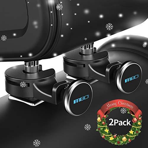 MEIDI Magnetic Headrest Mount, Universal Phone Holder, Car Backseat Hanger Hook Organizer Compatible With All Smart Phones Tablets GPS and eReaders (Sliver-2Pack)