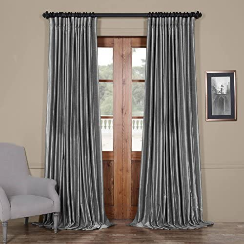 HPD Half Price Drapes PDCH-KBS7BO-96-DW Blackout Extra Wide Vintage Textured Faux Dupioni Curtain 1 Panel , 100 X 96, Storm Grey