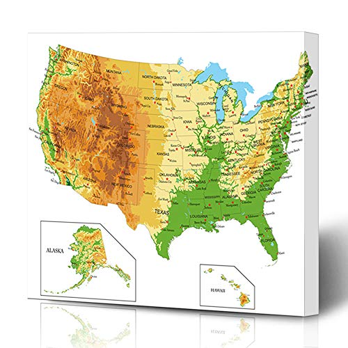 Ahawoso Canvas Prints Wall Art Printing 8x8 California United States America Physical Map Abstract Nevada Relief Idaho Philadelphia Michigan Painting Artwork Home Living Room Office Bedroom Dorm (Idaho Relief Map)