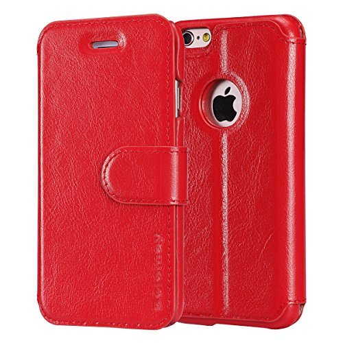 - Belemay iPhone 6S Plus, iPhone 6 Plus Case, Genuine Leather Wallet Case, Flip Folio Book Cover with Magnetic Credit Card Slots Kickstand Function Cash Pocket for iPhone 6s Plus/6 Plus - Red