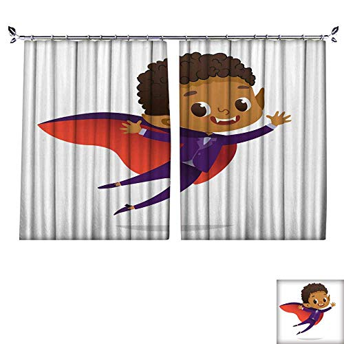 Blackout Draperies For Bedroom Kids Costume Party African American Dracula Vampire Boy in Halloween devil costume laughing and flying Cartoon vector Character for party invitations web mascot Isolate ()