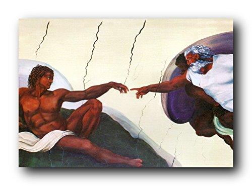 Picture Wall Decor Black Creation of Adam Sistine Chapel Art Print Poster (24x36)