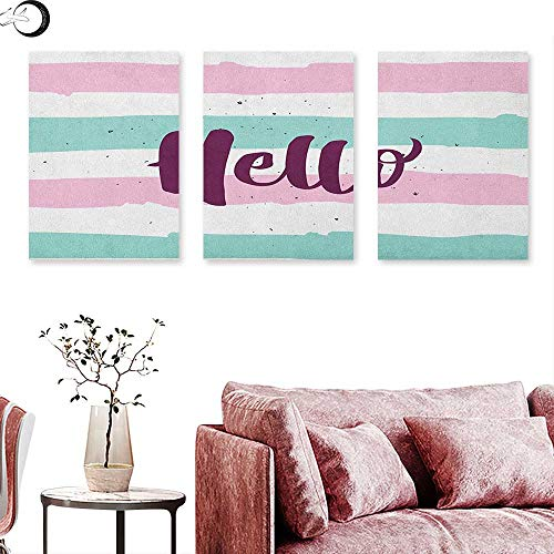"""J Chief Sky Hello Poster Prints Soft Pastel Colored Lines with Calligraphic Design Hand Letter Print Triptych Wall Art Pink Eggplant Almond Green W 20"""" x L 40"""" x3pcs"""