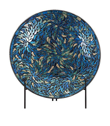 IMAX 80034 Peacock Mosaic Charger and Stand in Blue - Antique Glass Plate, Decor Accessory for Dining, Parties, Wedding. Commemorative and decorative Plates (Plates Blue Peacock)