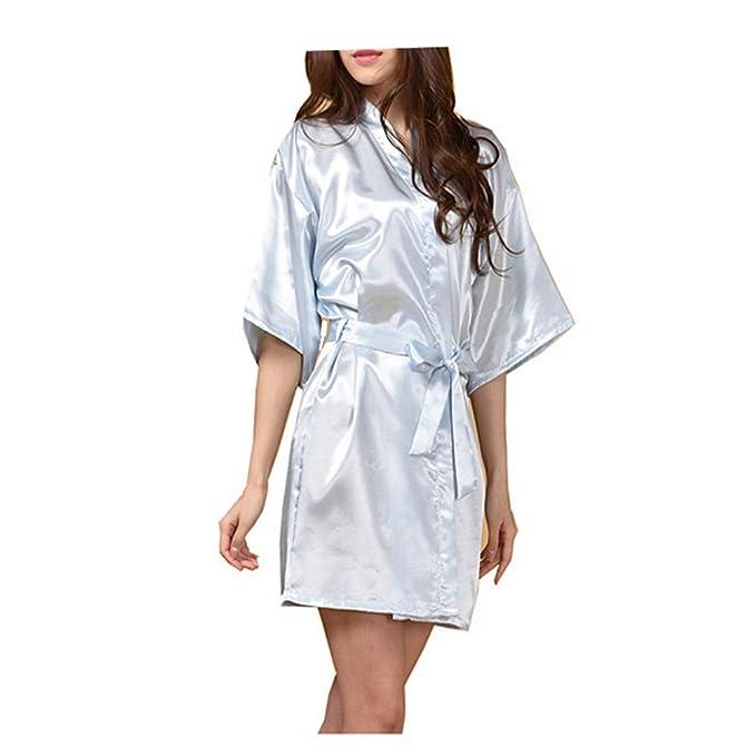 Morbuy Lencería Kimono Batas de casa con Escote de Seda Satén Camisón Ropa de Dormir Cama Albornoz Dama,1Pcs: Amazon.es: Ropa y accesorios