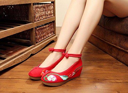 DESY Gestickte Schuhe, Leinen, Sehnensohle, ethnischer Stil, weibliche Schuhe, Mode, bequem, Segeltuchschuhe , black , 36