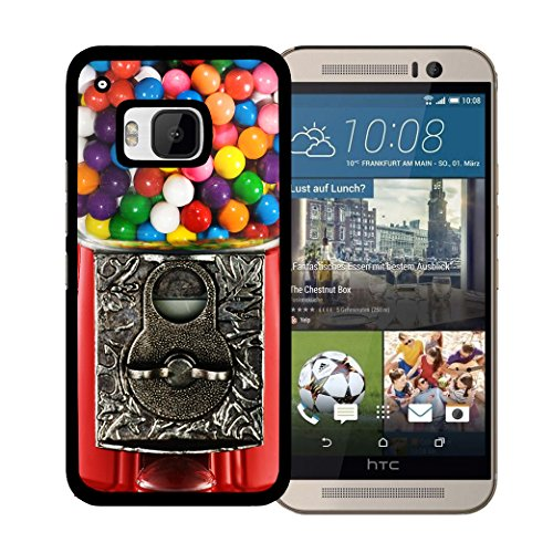 Red Gumball Colorful Candy Machine HTC one M9 Hard Snap on Plastic Cell Phone Case Cover ()