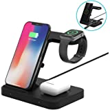 Wireless Charger, DOSHIN 5in1 Fast Wireless Charge Stand for iPhone Airpod Pro/2, Samsung Galaxy Note 10/9,Galaxy Watch 42mm/46mm/Active,Gear S3, Charging Dock Station for Apple Watch Series 5/4/3/2