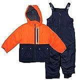 Osh Kosh Little Boys' Ski Jacket and Snowbib Snowsuit Set, Orange/Navy, 7