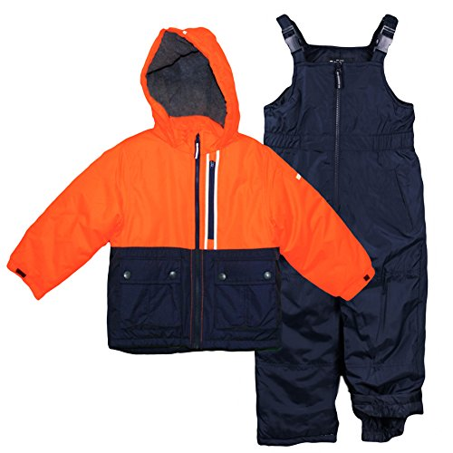 Osh Kosh Little Boys' Ski Jacket and Snowbib Snowsuit Set, Orange/Navy, 5/6 (Kids Boys Ski Jacket)