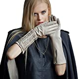 Fioretto Lady Sexy Leather Elbow Gloves Driving Winter Italian Goatskin Ruched Evening Dress Beige S