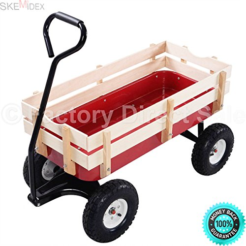 SKEMIDEX---Outdoor Wagon ALL Terrain Pulling Children Kid Garden Cart w/ Wood Railing Red,garden wagon walmart,garden cart (Red Wagon Wal Mart)
