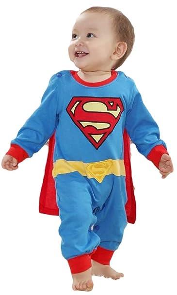 Bébé fille garçon déguisement Superman Superbaby super-héros combinaison grenouillère pyjama - bleu, 9