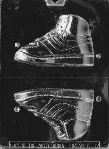 Cybrtrayd Life of the Party K056 High Top Sneaker Right Foot Chocolate Candy Mold in Sealed Protective Poly Bag Imprinted with Copyrighted Cybrtrayd Molding Instructions