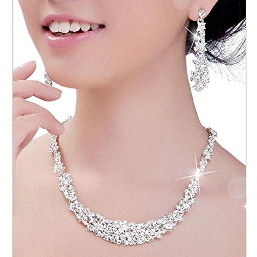 Malloom Elegant Crystal Necklace Earrings