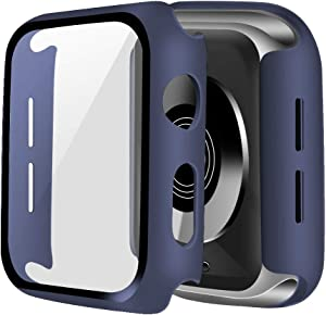 ONMROAD Blue Case Compatible with Apple Watch Series 3 42mm Screen Protector, Overall Protective Hard PC Bumper Case with Thin Tempered Glass Cover for iwatch Series 2 Series 1 Case