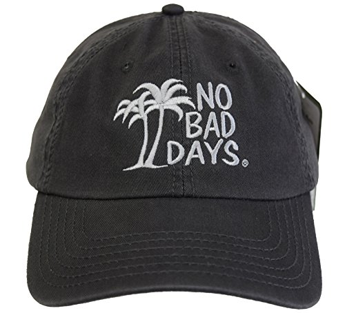 - No Bad Days Garment Washed Superior Combed Cotton Twill Six Panel Cap - Charcoal