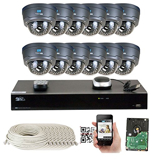 16 Channel H.265 4K NVR 4MP 1520p POE IP Camera System Wired, 12 x Varifocal Zoom 2.8-12mm Outdoor Indoor Security Camera - H.265 (Double recording data and enhance picture quality compared to H.264) by GW Security Inc