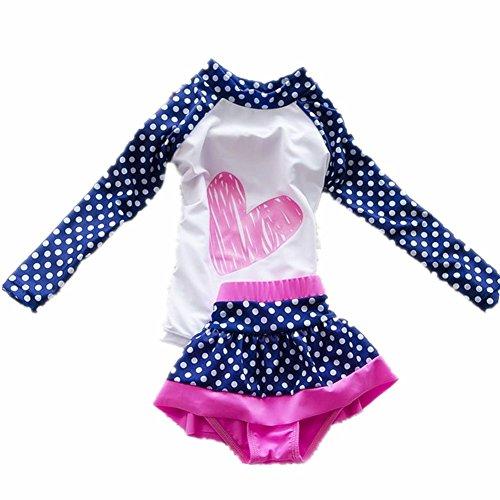 ZYZF Kids Girls Tankini Bikini Swimwear Polka Dots Swimsuit Rash Guard UPF 50+ (Dot Tankini Swimsuit)